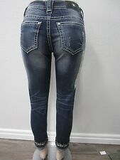 NWT MISS ME  MID-RISE CUFFED SKINNY MEDIUM BLUE JEANS MP7727CK SIZE 28 x 27 CUTE