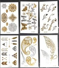 Tattoo Sticker Metallic Sliver Gold 6 pcs