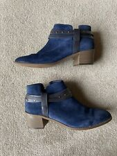 Clarks Somerset blue suede leather low ankle boots size 6.5/40