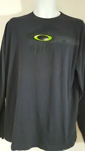 Oakley T Shirt Top Mens Sz XL Black Logo Long Sleeve Cotton Pullover 6514