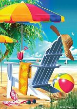 "FM165 LAZY DAY AT THE BEACH SUMMER DRINKS SHORE 12""x18"" GARDEN FLAG BANNER"