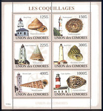 Comoro Islands - 2009 s/s of 6 Shells and Lighthouses #1083 cv $ 11.50 Lot # 91