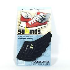 Black Wings Shwings Shoe Accessory Charm-Lace Onto Any Shoe Sneakers.