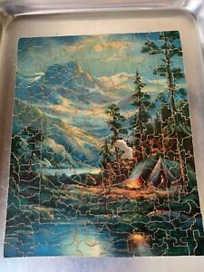 C1930 Wooden Jigsaw Puzzle 240pc Making a Camp Fire Waterville Women's Rooms