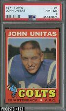 "1971 Topps Football #1 John Johnny Unitas Colts HOF PSA 8 "" FIRST CARD IN SET """