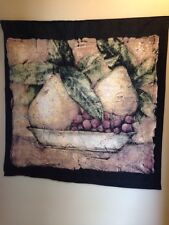 Crackled Still Life Pears Grapes fruit bowl art Woven Tapestry Wall Hanging NEW