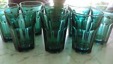 8 Luminarc France Aqua Blue Green Tumblers paneled panel glass glasses Eight
