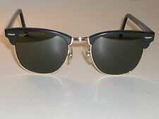 VINTAGE B&L RAY BAN W1115 BLACK/GOLD G15 UV CLUBMASTER II SUNGLASSES w/CASE