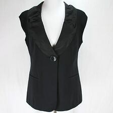 CAbi Dinner Vest Sz 8 Black Ruffle Collar One Button #917 Sleeveless Jacket