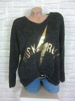 38 40 42 feinstrick Pullover Pulli Tunika Shirt Oversize lurex Anthrazit E869