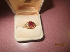 NWOT  LADY'S GOLD PLATED Ring Size 5 RED STONE FAUX RUBY BIRTHSTONE