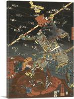 Samurai Going Against a Storm of Arrows Canvas Art Print by Utagawa Kuniyoshi