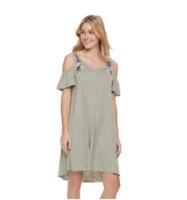 SONOMA Womens Dress Short Sleeve Embroidered Cold-Shoulder