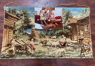 Vintage Tapestry With Family photo from the 70s 11 x 14 With Original Tapestry!?