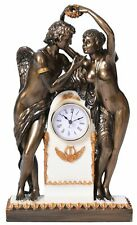 Clock Cupid & Psyche Sculpture Table Regency Kommodenuhr Antique Chimney Retro