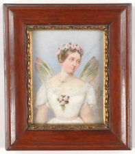 """Albert Theer (1815-1902) """"Portrait of a lady as Psyche"""", miniature, 1862"""