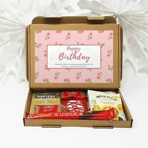 Personalised Birthday Tea Treat Box Hamper Biscuits Hug in a box Sweets coffee