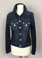TRUE RELIGION Fitted Trucker Style denim jacket size XS Uk 6-8 POPPERS