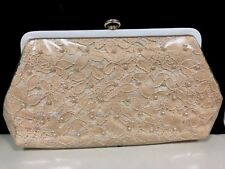 Vintage Clutch Purse Lace Pearls Under Plastic Mid-century Very Sharp