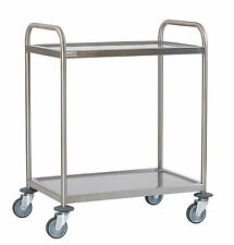 Stainless Steel 2 Tier Serving Trolley Large