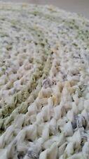 Handmade Crochet Round Rag Rug Mat Cotton Cream Grey Green Yellow Washable Eco