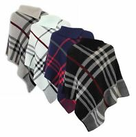 NEW Ladies Warm High neck Tartan Poncho women Knitted Wrap Cape Shawl One size