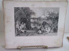Vintage Print,CARAVANSARY GUZEL HISSAR,Fishers,Constantinople,Allom,c1860
