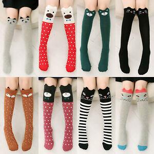 1Pair Socks Cartoon Pattern Knee Overing Cotton Girl Fashion Stockings Decor