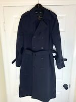 Anchor Uniform Trench Coat Mens Size 38L Navy Blue Warm Removable Liner