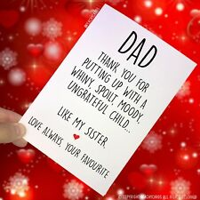 Funny Father's Day Card Funny Card For Dad Novelty Favourite Child Banter PC137