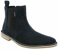 Lambretta Navy Chelsea Boots Desert Ankle Suede Leather Dealer Pull On Mens