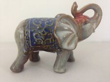 Indian Elephant Figurine Ornament Statue Sculpture Trunk up Blue