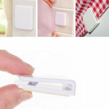 1 Pair New Plastic Shower Curtain Clips Seamless Sticky Hooks Bathroom Supply