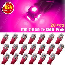 20PCS T10 Wedge Vivid Pink 5050 5SMD Car LED Light Lamps W5W 194 168 2825 12V US