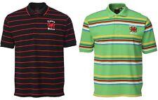 New Men's Wales Cymru Welsh Dragon Logo Yarn Dyed Striped Rugby Polo Shirt Top