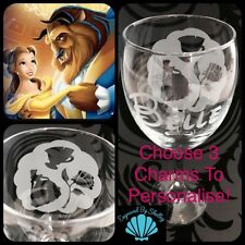 Disney Princess Hand Engraved 'Charm' Wine Glass! Beauty & The Beast Belle Rose