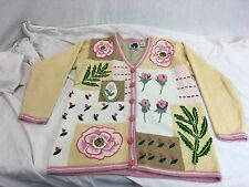 * Storybook Knits *  Flowers Roses Leafs Cardigan Sweater Small NEAR MINT!