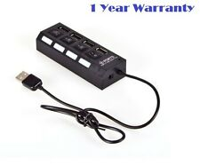 Technotech High Speed 4 Port USB HUB 2.0 With Individual Switches - Black