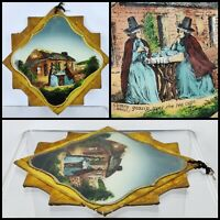 Antique Victorian reverse painted glass panel Plaque Welsh Cymru Naive Folk Art