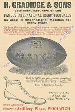 "RUGBY PRINT 1912 GRADIDGE ADVERTISEMENT BALLS & BOOTS 18"" x 12"" (45 cm x 30 cm)"