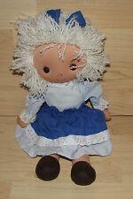 """Vintage KAMAR Blue Dress Bow Rag Doll Cloth Plush Baby White Yarn Hair 14"""" RARE"""