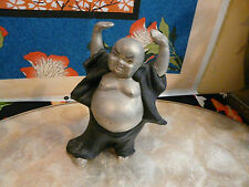 Very Nice Unusual Clay Made Hotei Buddha Figurine by Cates
