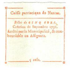 BILLET PATRIOTIQUE de NANTES 5 SOLES de 1791 ETAT NEUF