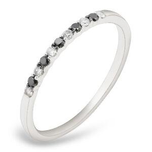 Goldenstar 0.17ct. Black & White Diamond Wedding Ring