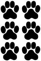 Pfoten, Cat, Dog, Hundepfoten, Katzenpfoten Aufkleber Sticker 6 Stück in 10X10cm