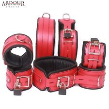 Real Leather Wrist Ankle Thigh Cuffs & Collar 7 Pieces Set Padded  Red & Black