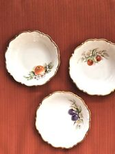 Set Of 3 Vintage Bavaria Tirschenreuth Small Bowls White & Gold w/ Fruits 5 1/2""