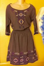 JWLA Johnny Was Brown Embroidered Bohemian Dress Size S Small NWT