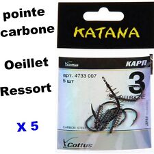hameçons ressort œillet carbone X 5 pèche bas ligne  truite Taille 10