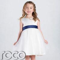Girls Ivory & Navy Flower Girl Dress, Girls Bridesmaid Dress
